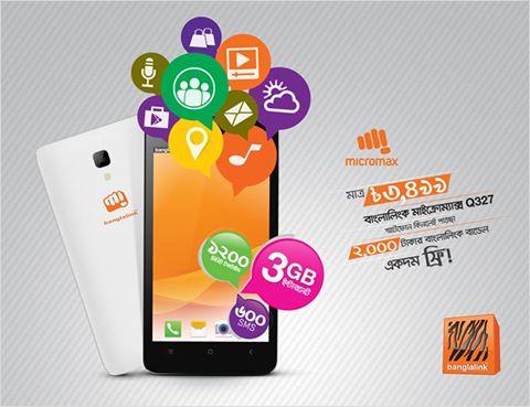 Banglalink MICROMAX Q327 Handset Offer 3499 Taka get 3GB Free internet & 1200 Min talktime